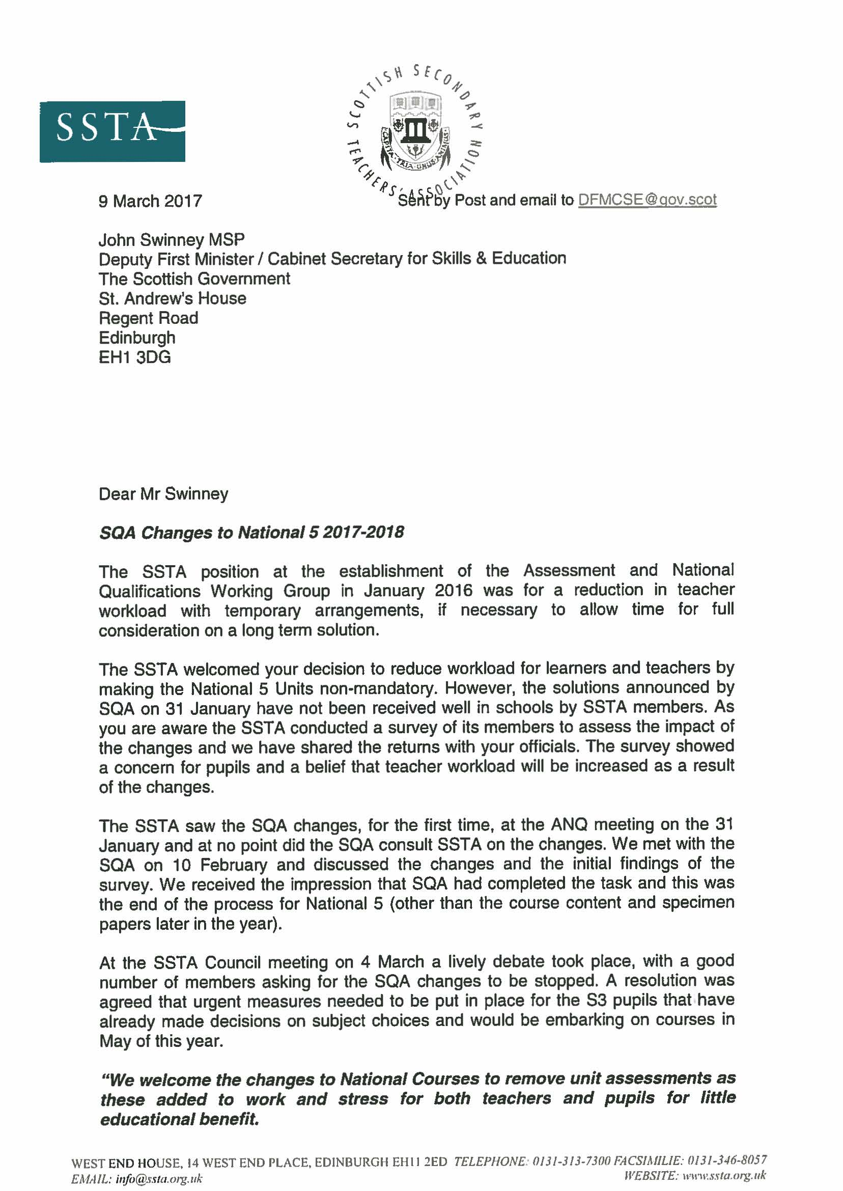 Letter to deputy first minister scottish secondary teachers letter to deputy first minister scottish secondary teachers association altavistaventures Choice Image